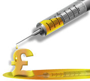 Sterling liquid gold cash Injection. Medical syringe filled with gold liquid over a pound sterling symbol royalty free stock photo