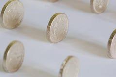 Sterling lle monete da una libbra Fotografia Stock Libera da Diritti
