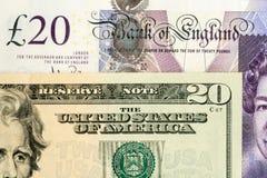 Sterling och för US dollar 20 sedlar Arkivbild