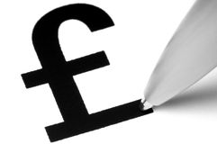 Sterling Pound Symbol. With tip of pen, on white stock image