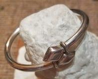 Sterling silver bracelet jewelry. Sterling silver rope bracelet fine jewelry shopping jeweler precious metal 925 stock photo