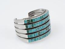 Sterling Silver Cuff-armband met Turkoois. Stock Fotografie