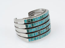 Sterling Silver Cuff bracelet with Turquoise. Stock Photography