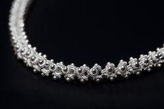 Sterling silver necklace macro Royalty Free Stock Images