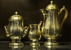 Sterling silver tea set Stock Photography