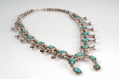 Sterling Silver and Turquoise Squash Blossom Necklace. Stock Images