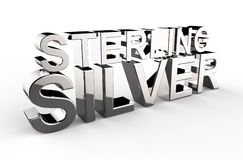Sterling silver written 3d illustration on a white background Stock Photography