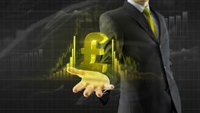 Sterlingr de la libra del control del hombre de negocios a mano stock de ilustración