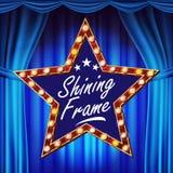 Stern-Anschlagtafel-Vektor Glänzendes helles Zeichen-Brett lue Theater-Vorhang Realistischer Glanz-Lampen-Rahmen elektrisches Glü lizenzfreie abbildung