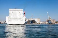 Stern of big white cargo ferry ship Royalty Free Stock Photos