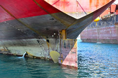 Stern of a cargo vessel Stock Photo