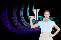 Stern classy businesswoman holding megaphone Stock Photos