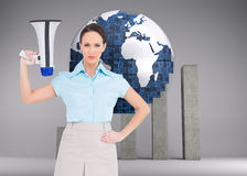 Stern classy businesswoman holding megaphone Royalty Free Stock Photo