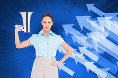 Stern classy businesswoman holding megaphone Royalty Free Stock Image