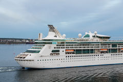 Stern of Cruise Ship Sailing Out Stock Image
