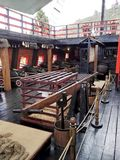 Stern czarna łódź z czerwienią parkowy Jaime duque zdjęcie royalty free