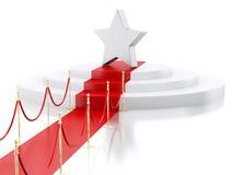 Stern 3d A in der Spitze eines Podiums mit rotem Teppich Erfolg concep Stockfotografie