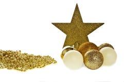 Stern des Goldweihnachtsflitters 7 stockfotos