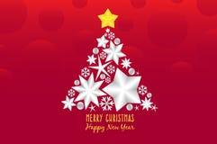 Stern des Weihnachtsbaum-Dekorillustrationsentwurfs auf rotem Hintergrund lizenzfreie abbildung