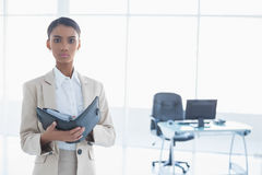 Stern elegant businesswoman holding her agenda Stock Photo