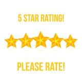 Stern fünf lokalisiert auf weißem Hintergrund Veranschlagender Stern-Vektor Lizenzfreie Stockbilder