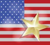 Stern für Erfolg auf Flagge der Vereinigten Staaten von Amerika Lizenzfreie Stockfotografie