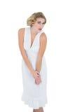 Stern fashion blonde model looking at camera Royalty Free Stock Image