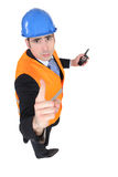 Stern foreman. Foreman is giving a warning Stock Photography