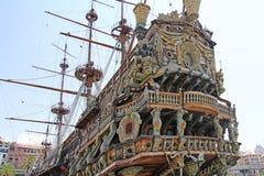 Stern Galeone Neptune. Stern ship Galeone Neptune in the old port of Genoa, Italy royalty free stock image