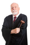 Stern Judge with Gavel Stock Images