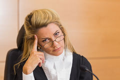 Stern judge looking at camera Royalty Free Stock Image