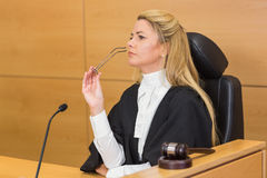 Stern judge looking and listening Stock Images