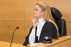Stern judge looking and listening Royalty Free Stock Photography