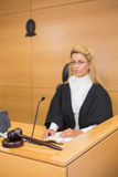 Stern judge speaking to the court Stock Images
