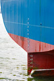 Stern of large ship with draft scale Royalty Free Stock Photography