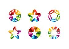 Stern, Logo, kreativer Satz der Kreiselementzusammenfassung spielt Logosammlungen, die Hauptrolle spielt Symbolvektordesign die H stockfoto
