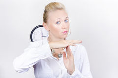 Female Business Executive Showing Time Out Gesture Royalty Free Stock Photos