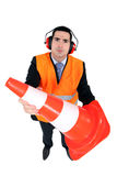 Stern man with ear defenders Royalty Free Stock Photos