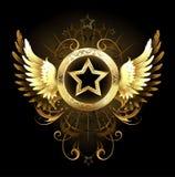 Stern mit goldenen Flügeln Stockbild