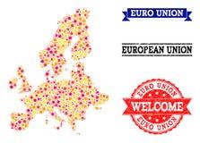 Stern-Mosaik-Karte von Euroverbands-und Schmutz-Wasserzeichen lizenzfreie abbildung