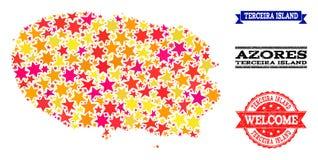 Stern-Mosaik-Karte von Terceira-Insel und von Gummiwasserzeichen stock abbildung