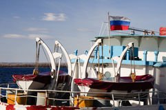 Stern of motor ship with russian flag. Motor ship on the Volga river with russian flag next pier. Spring 2014, Samara city, Russia Stock Images