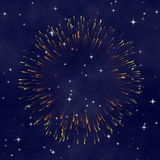 Stern-nächtlicher Himmel mit Feuerwerk Stockbilder