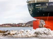 Free Stern Of Old Hurtigruten Cruise Ship MS Finnmarken On Quay Of Stokmarknes, Vesteralen, Nordland, Norway Stock Photography - 135628682