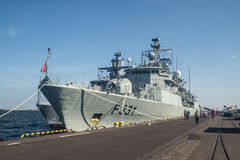 Bow of Portugal warship in a harbor Royalty Free Stock Photos