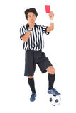Stern referee showing red card Royalty Free Stock Photos