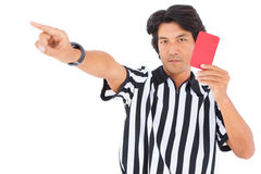 Stern referee showing red card Stock Photo