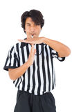 Stern referee showing time out sign Royalty Free Stock Photos