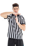Stern referee showing time out sign Stock Images