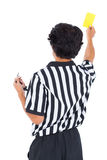 Stern referee showing yellow card Royalty Free Stock Photos